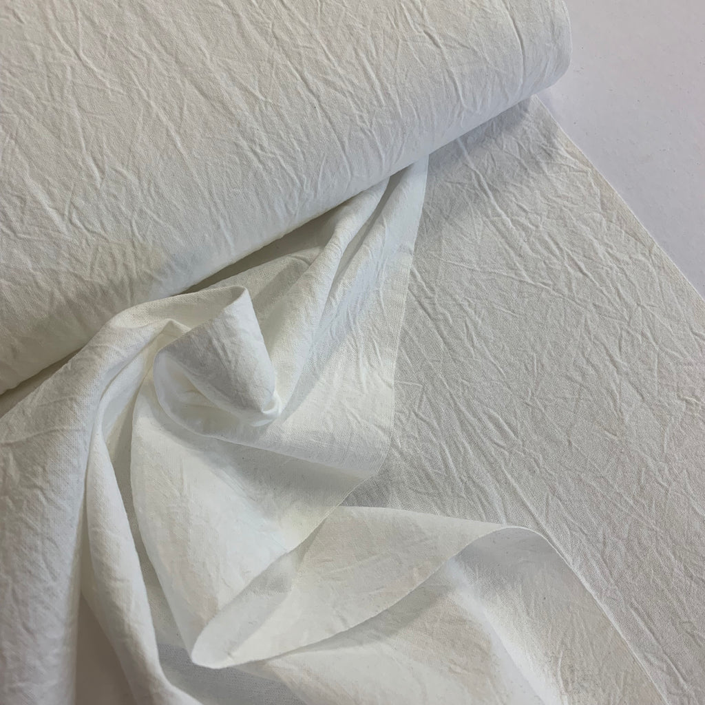 100% cotton shirting crumple texture - Milk White