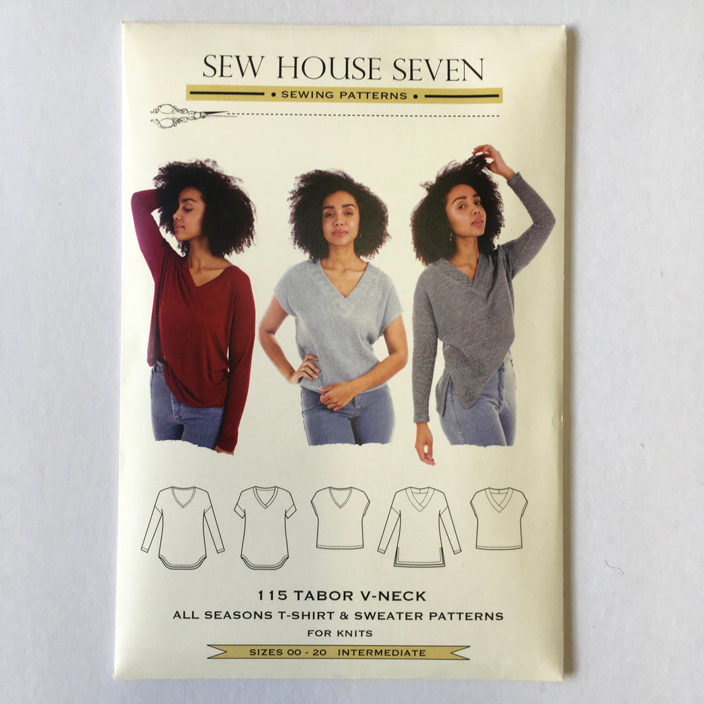 Tabor V-Neck pattern by Sew House Seven