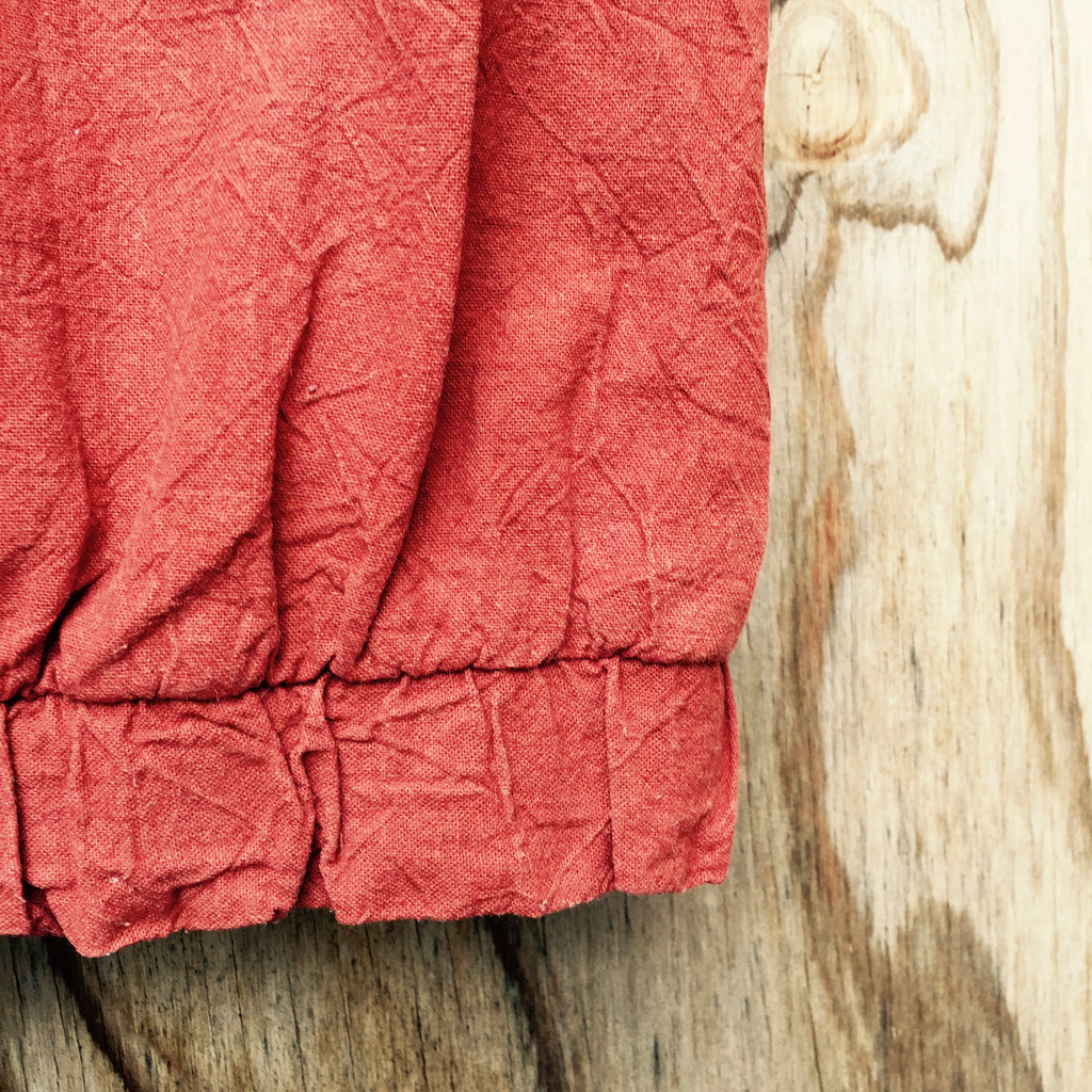 55% Linen 45% Cotton Crumpled Texture Canvas - Persimmon
