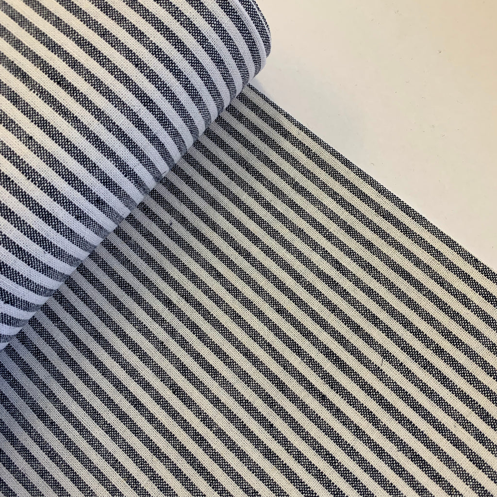 55% linen + 45% cotton, Essex Yarn Dyed woven by Robert Kaufman - navy & off-white mini stripe
