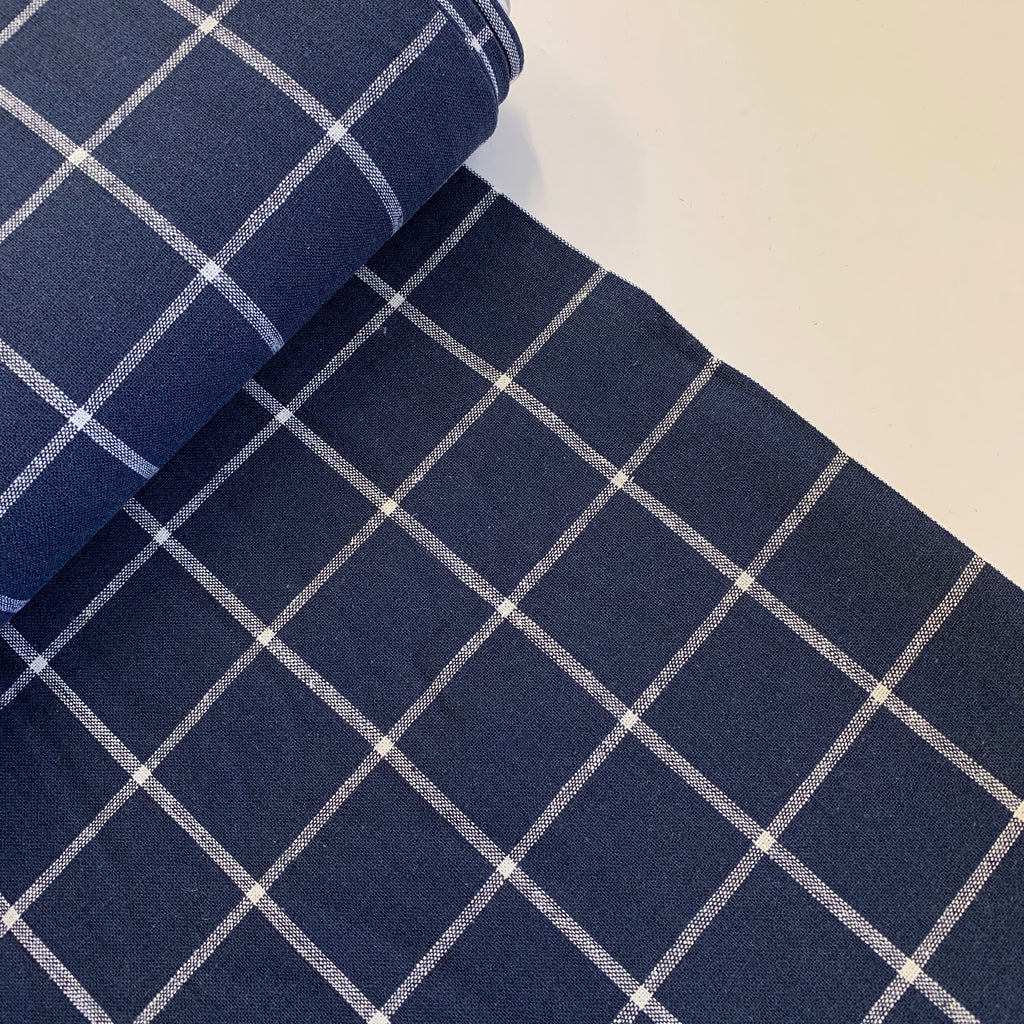 55% linen + 45% cotton, Essex Yarn Dyed woven by Robert Kaufman -Navy Windowpane