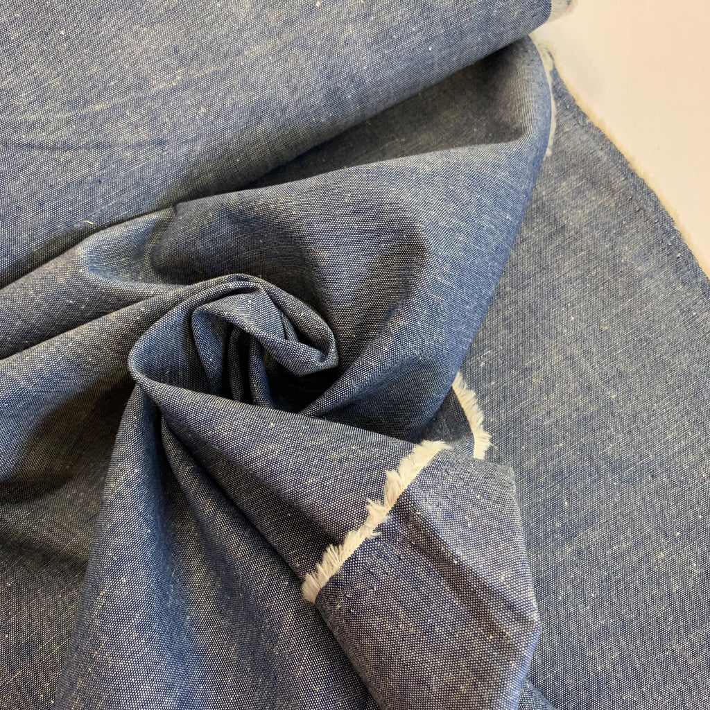 85% cotton 15% linen Japanese chambray, Night Blue