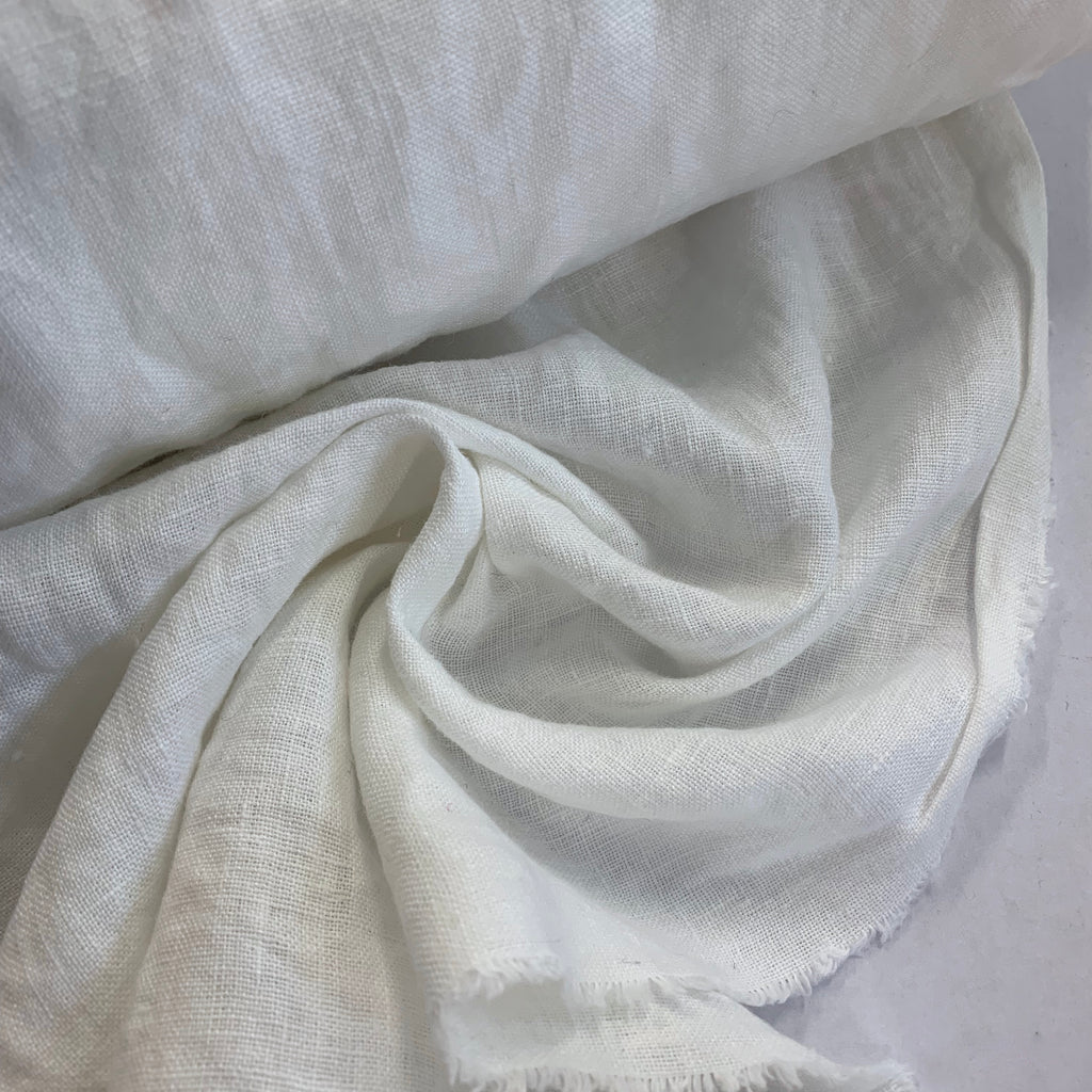 100% linen, washed/softened, White