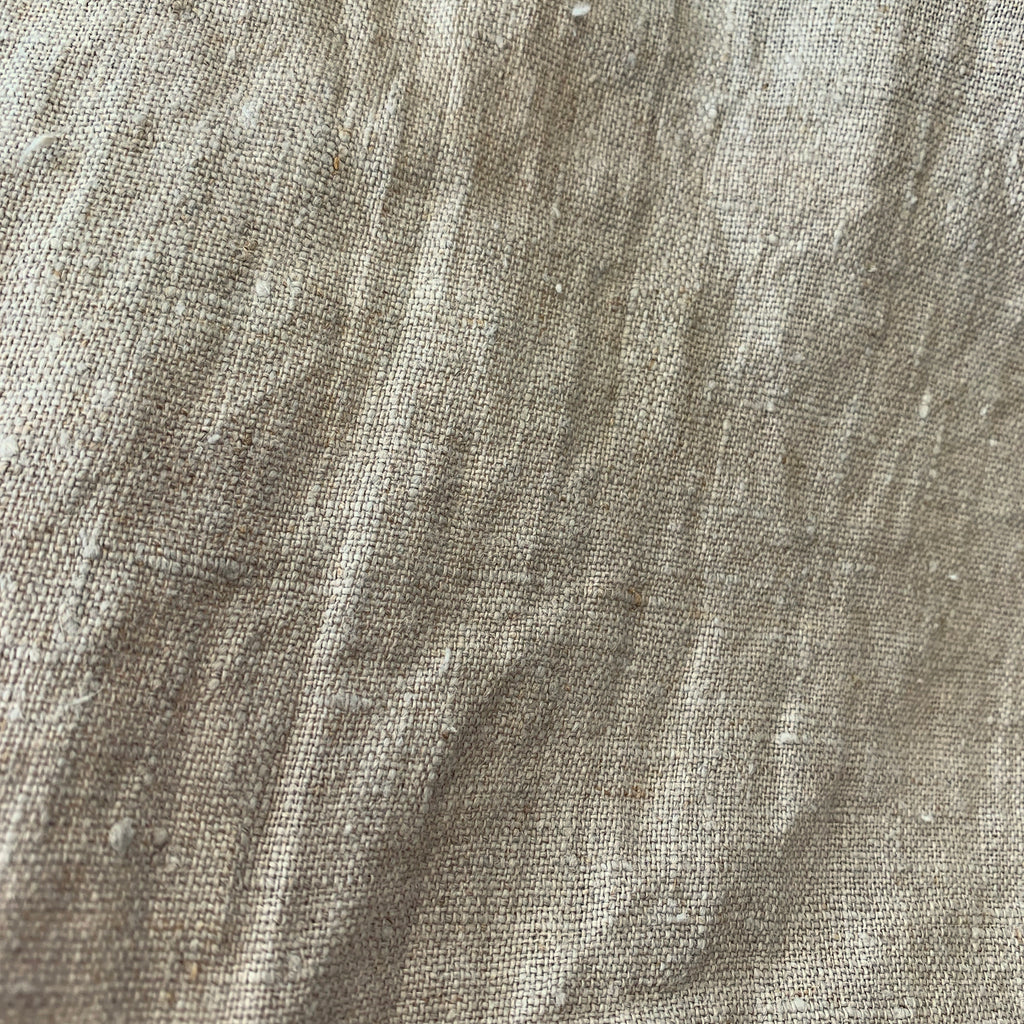 100% linen, mid-heavy weight Natural Flax, teatowel width