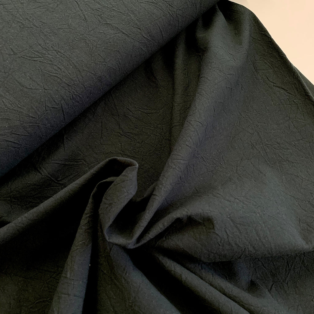 100% Cotton, Crumpled Texture Shirting - Black
