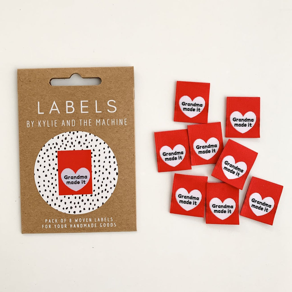 "Pack of 8 woven labels by Kylie and the Machine - ""Grandma made it"""