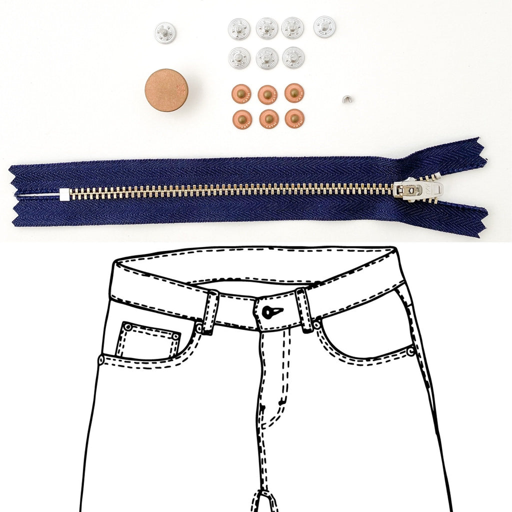 Kylie and the Machine Jeans Hardware REFILL KIT - Navy Zip