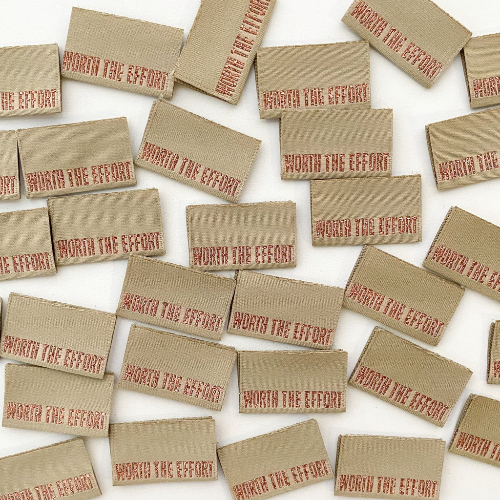 "Pack of 8 woven labels by Kylie and the Machine - ""Worth The Effort"""