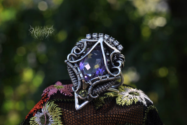 Amethyst Silver Statement Ring #200623