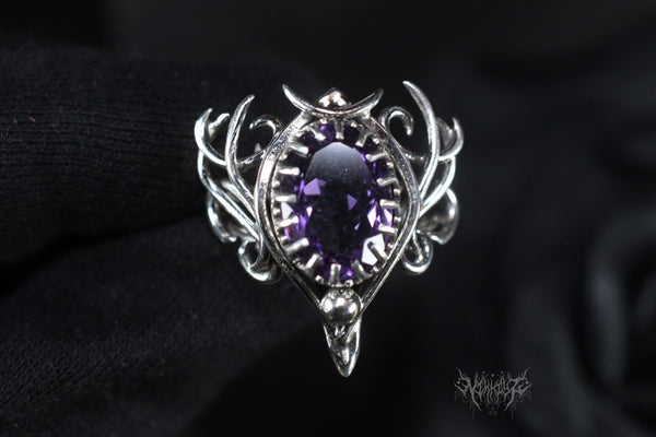 Amethyst's Demand Silver adjustable ring #201110