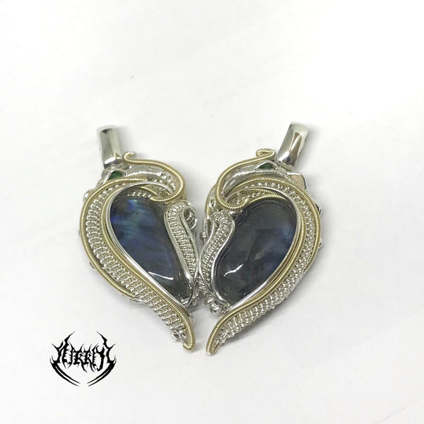 Heart set Silver pendants (SOLD as pair)