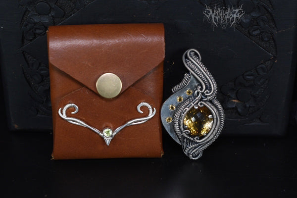 Citrine Hybrid Silver Pendant with FREE leather pouch #200930