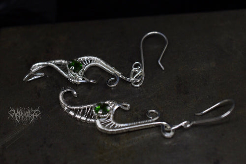 Chrome diopside Silver earrings
