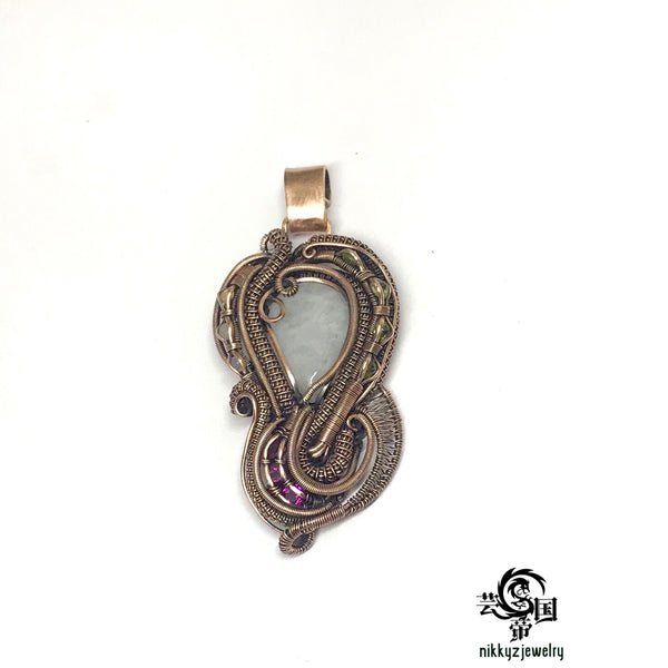 Rainbow moonstone Copper pendant