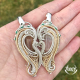 Tourmaline heart set pendants