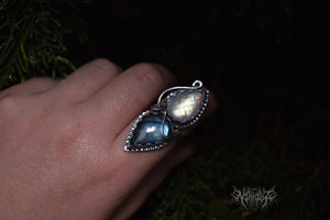 Double gems silver ring [Reflection] size 7 #2005222