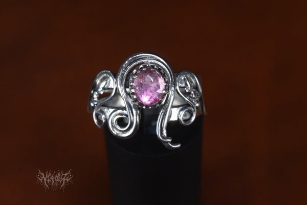 Leo Pink Tourmaline Silver Ring #201123