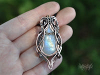 Rainbow moonstone Copper pendant #200905