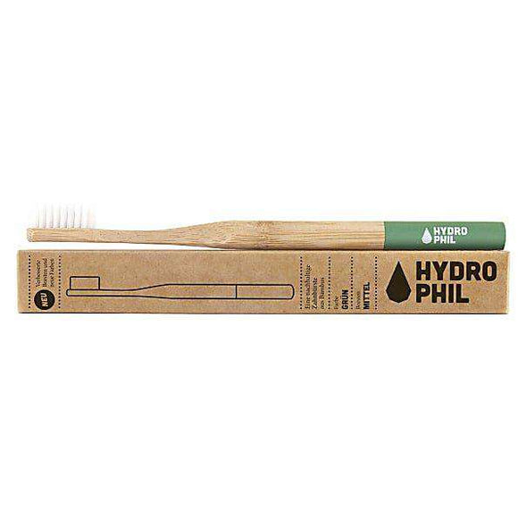 Bamboo toothbrush in green, sustainable & vegan by Hydrophil - One Planet Mind