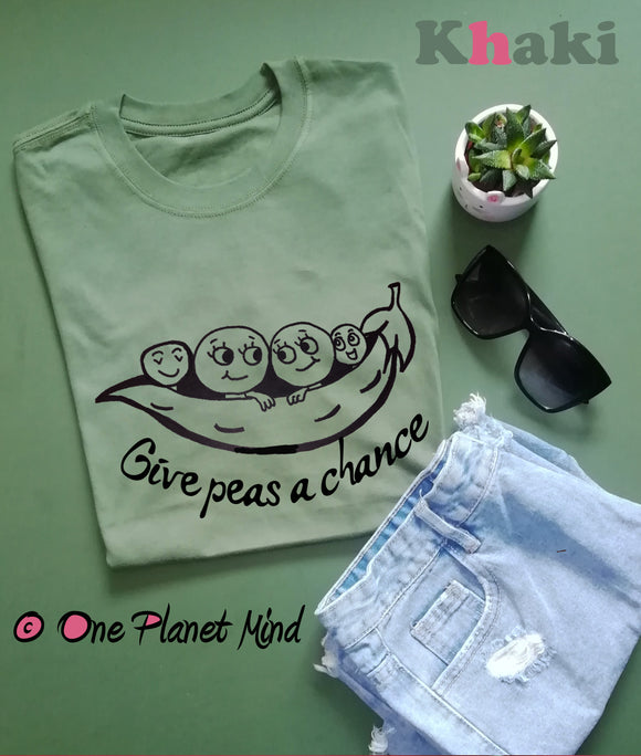 Give peas a chance pun Eco T Shirt