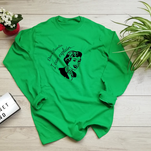 Dear Santa I Can Explain Long Sleeve Eco T Shirt