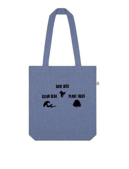 Save Bees, Clean Seas Plant Trees recycled tote - One Planet Mind