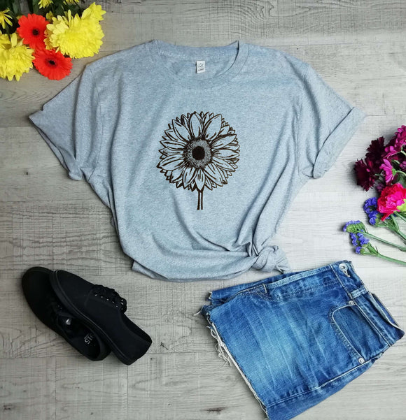 Sunflower Print Organic T- Shirt (Unisex) - Climate Neutral - One Planet Mind