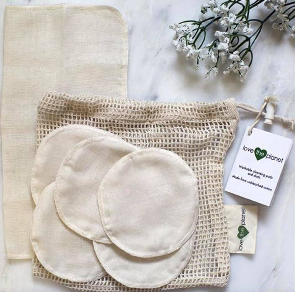 Love The Planet - Muslin Cleansing Rounds and Cloth - Vegan - Cruelty Free