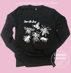 Save the Bees Organic Long Sleeve Shirt