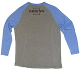 Long Sleeve Bamboo Fishing Shirt Baseball Design Gray and Blue