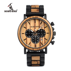 Wood and Stainless Steel Luminous Hands Stop Watch