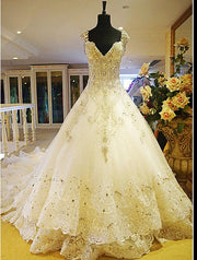 High Class Luxury Crystals Beaded Wedding Gown