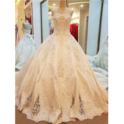 Luxury Train Wedding Gown See Through Back