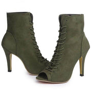 Canvas Peep Toe Boots