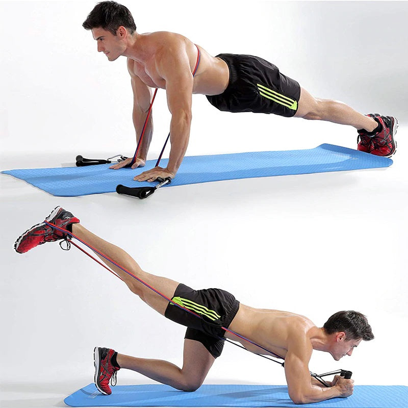 Image result for fit model man resistance band display of man working out with 11 pcs Fitness Resistance Bands Set Best For Home & outdoor fitness. trusted gadget store highly reviewed products for real solutions image shows how easy it is to use the resistance bands anywhere anytime image also shows the convenience of exercising anywhere and easy storage