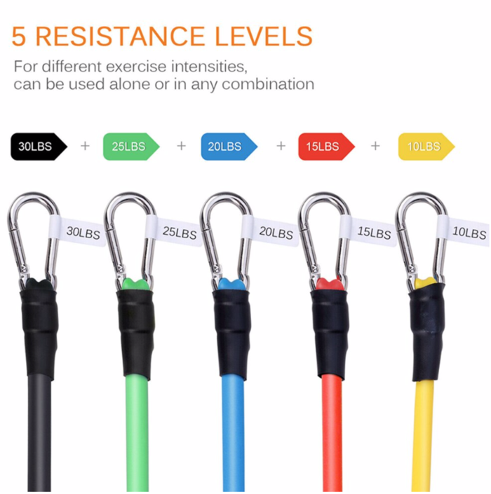 Display of man exercising with 11 pcs Fitness Resistance Bands Set Best For Home & outdoor trusted gadget store highly reviewed products for real solutions
