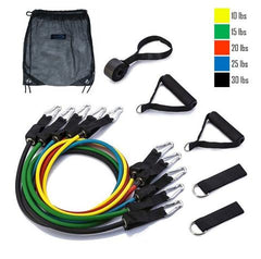 display of 11pc Body building and toning fitness exercise resistance bands Trusted Gadget Store