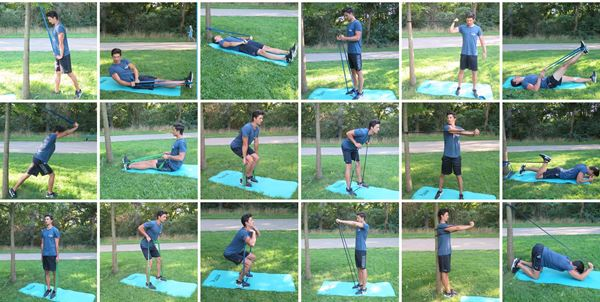 Image result for fit model man using resistance bands in various exercises display of a chart exercises for men using 11 pcs Fitness Resistance Bands Set Best For Home & outdoor fitness. trusted gadget store highly reviewed products for real solutions image shows how easy it is to use the resistance bands anywhere anytime image also shows the convenience of exercising anywhere and easy storage
