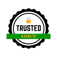 TrustedGadgetStore.com Logo in black circle. Trusted in the middle with black font and gadgets in yellow color with green background. A padlock is visible on top of Trusted. Which implies security and secure check out of the e-commerce store for trusted