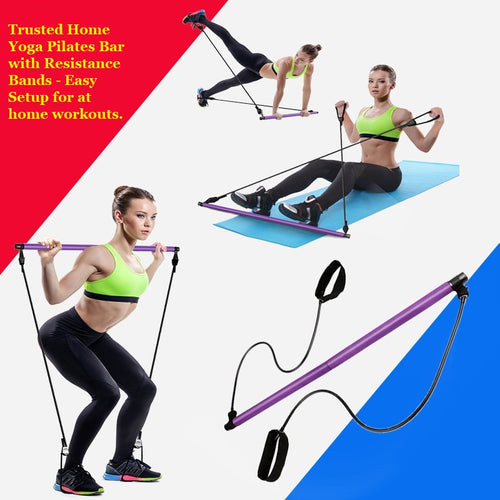 Display of Multifunctional Pilates Bar Kit with Resistance Bands - Trusted Gadget Store - Yoga Pilates Bar | Highly Reviewed Products that solve real problems. https://Trustedgadgetstore.com