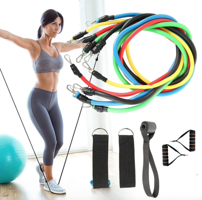 Display of USA Exercise Resistance Bands Fitness Kit for Women (11pc band set) - Trusted Gadget Store - Resistance Band | Highly Reviewed Products that solve real problems. https://Trustedgadgetstore.com