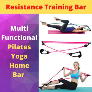 Display of Pink Multifunctional Pilates Bar Kit with Resistance Bands - Trusted Gadget Store - Yoga Pilates Bar | Highly Reviewed Products that solve real problems. https://Trustedgadgetstore.com