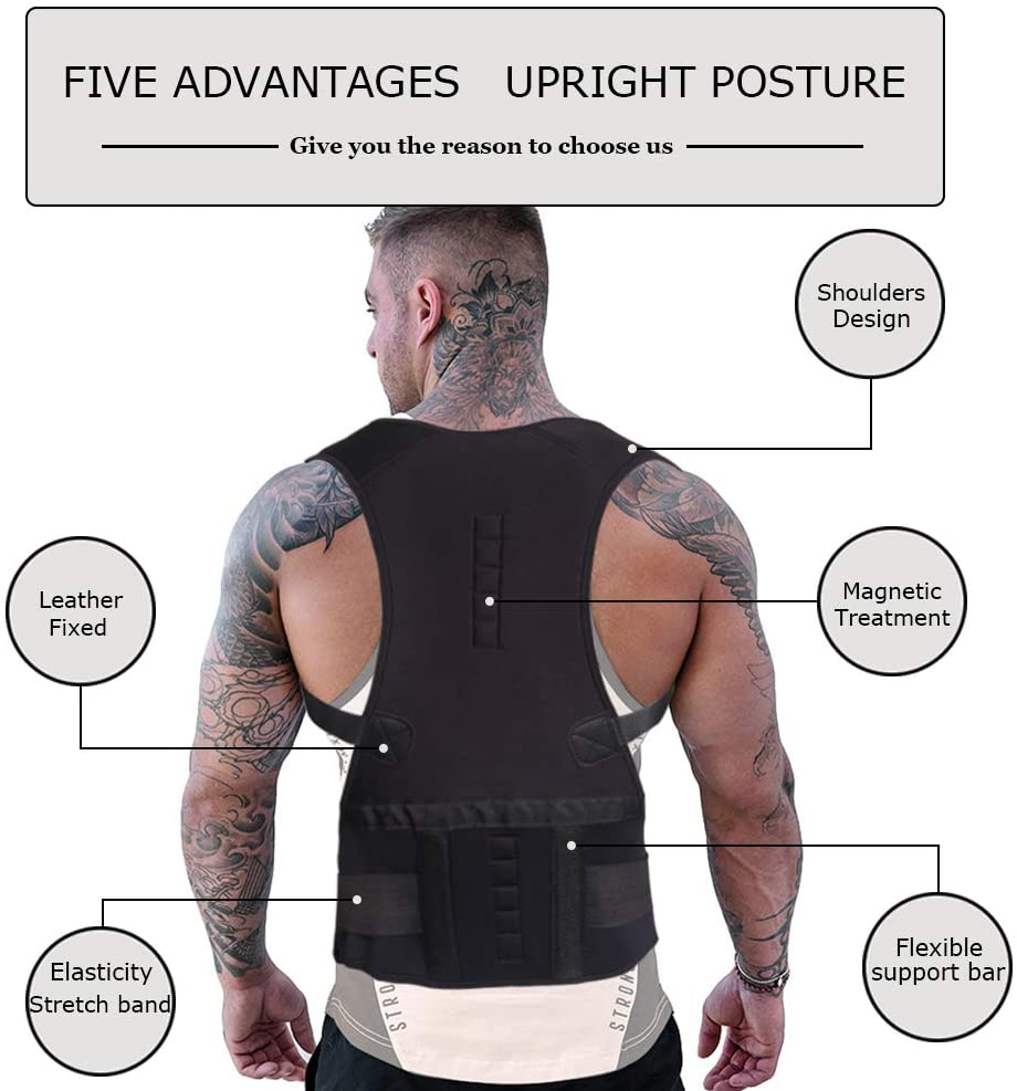 tRUSTED GADGET STORE New-Male-Female-Adjustable-Magnetic-Posture-Corrector-Corset-Back-Brace-Back-Belt-Lumbar-Support-Straight-BLACK