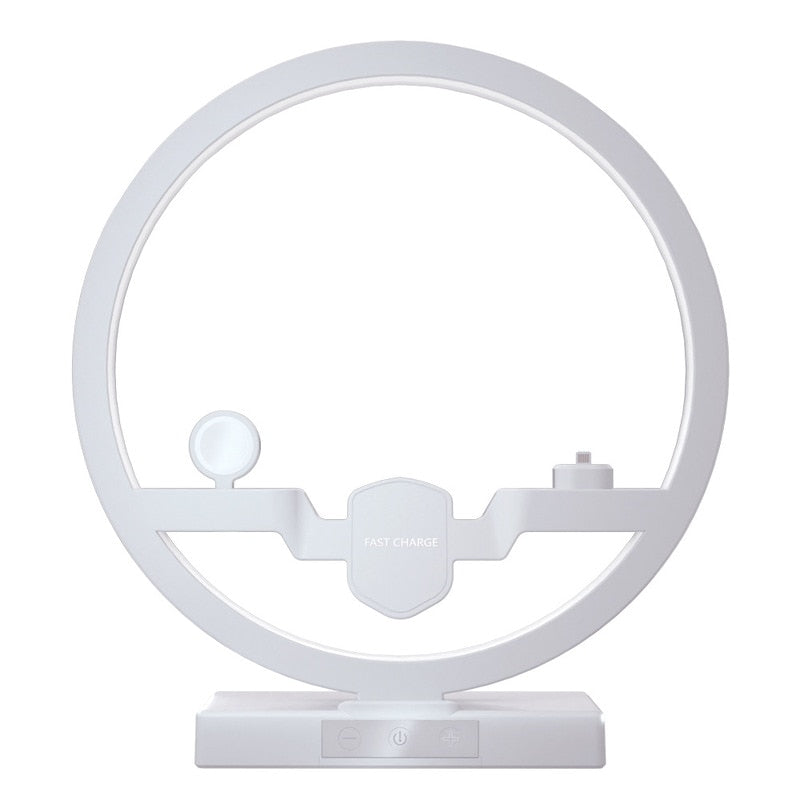 Display of US Plug White 3 IN 1 Lamp with Wireless Charger Dock for iPhone - iWatch - Airpods - Trusted Gadget Store - Lamp | Highly Reviewed Products that solve real problems. https://Trustedgadgetstore.com