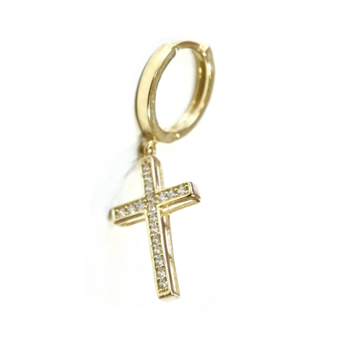 10K Cross Zirconia Pierce Gold