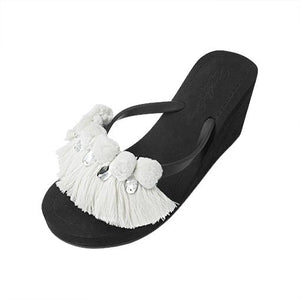 White Pom Pom Tassle - Women's High Wedge