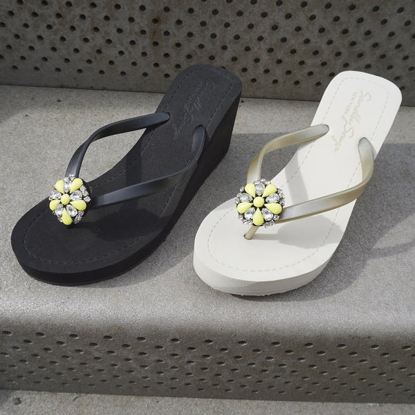Bedford high wedge sandals, yellow flower, studs, rhinestone