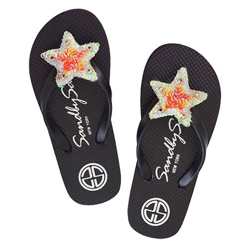 Black, Sandal, Star, Gold, White, Flat, Big Kids