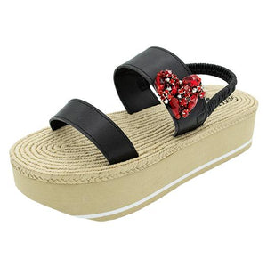 Chelsea Red - Waterproof Espadrille Platform