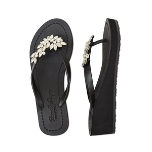 Black Mid Wedge Heels Women's Sandals with Crystal Manhattan